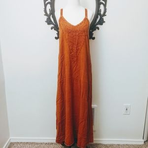 orange embroidered  hippie boho Bohemian dress